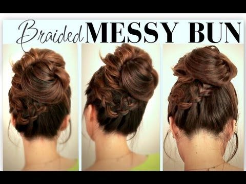 Cute Everyday School Hairstyles Big Messy Bun With Braids