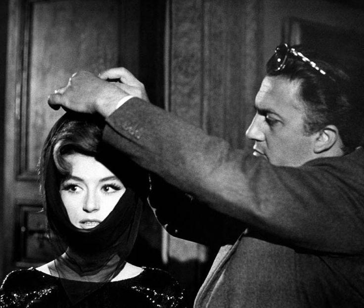 Anouk Aimée and Federico Fellini on the set of 'La Dolce Vita', 1960.