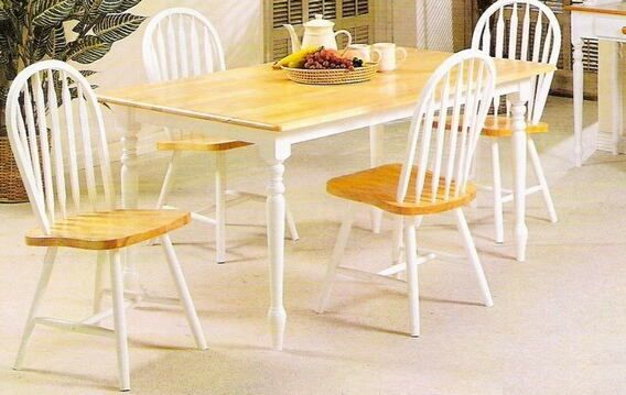 5 Pc Natural And White Finish Country Style Wood Dining Set Captivating 36 Dining Room Table Design Ideas