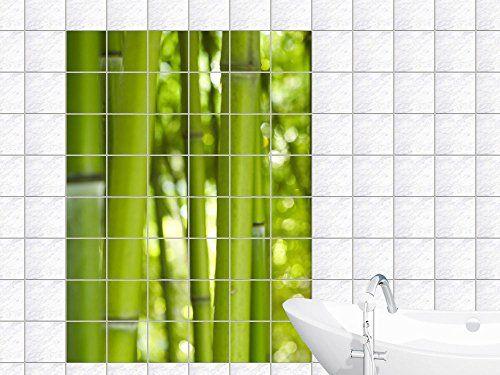Graz Design 761083_20x25_60 Fliesenaufkleber Bad Fliesenfolie Fliesendeko Fliesen Dekor Küche Bambus im Grün für Badezimmer Fliesengröße 20x25cm (Anzahl Fliesen = 3 breit und 4 hoch)