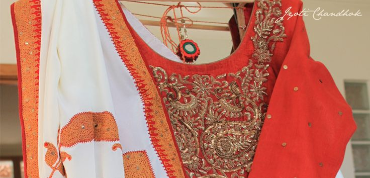 Bridal and Occasionwear at Jyoti Chandhok #kurti #orange #gold #white #traditional #Bollywood #Jyotichandhok #asian #wedding #embroidery #beading #sequins