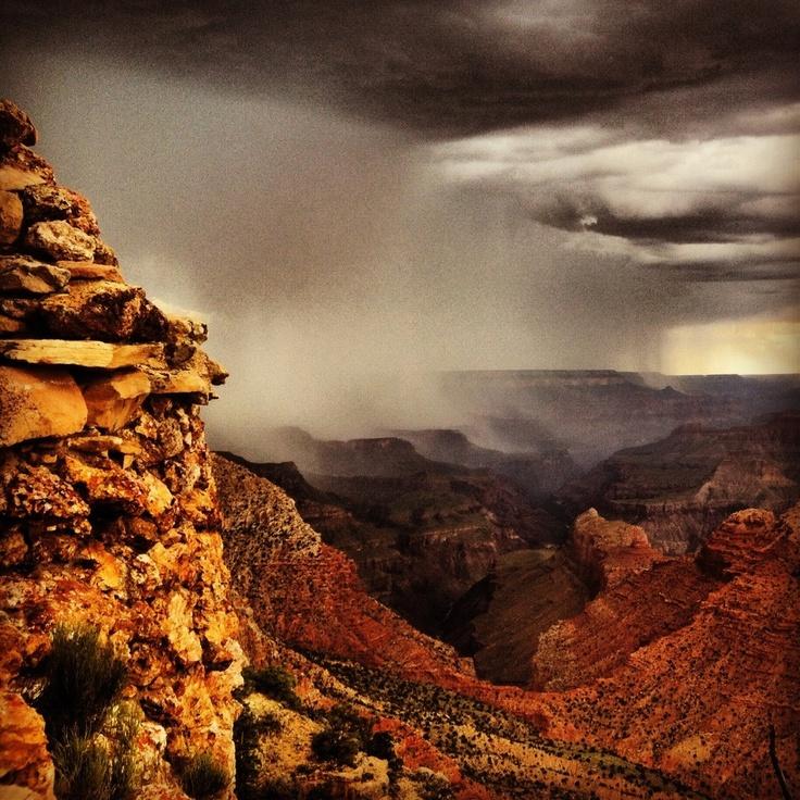 Grand Canyon and a rain storm. Beautiful.