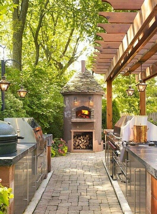 Fireplace And Outdoor Kitchen. A Galley Kitchen Outside Complete With The  Big Green Egg Thing. Wouldnu0027t Greg Love Making Pizzas In That Cool Stone  Oven?