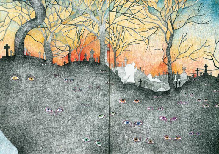 """Bródno cementary"" - an illustration from a teen adventure book ""Omega"" by Marcin Szczygielski, 2009, by AROBAL"