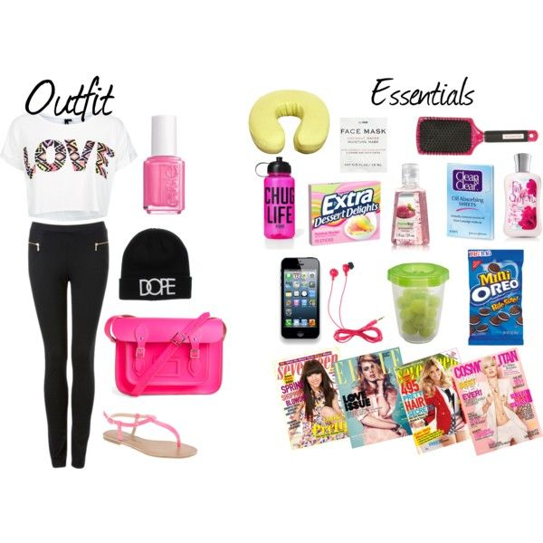 Airplane/Traveling Outfit And Carry on essentials ... Summer Outfits For Teenage Girls Polyvore