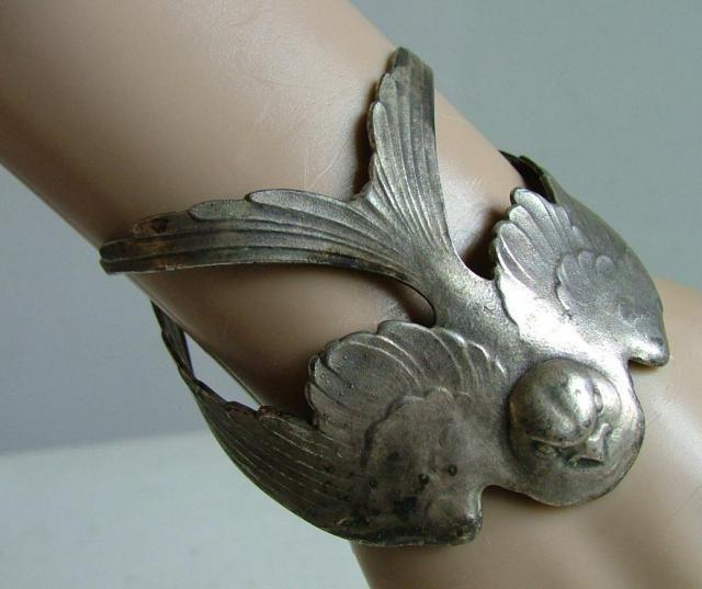 vintage art nouveau swallow cuff bracelet