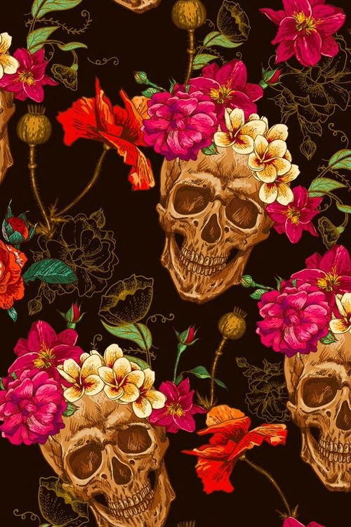 Imagem de flowers, skull, and wallpaper