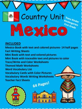 Included in this unit:1 Mexico Book with text and colored pictures- 14 half pages3 Fact Writing Sheets1 Mini Book with text and colored pictures1 Mini Book with traceable text and pictures to color7 Trace/Write and Color Worksheets14 Themed Math Worksheets18 Word Vocabulary List18 Vocabulary Cards with Color Pictures4 Vocabulary Words Writing Worksheets9 Teacher Fact Sheets Related Products:Mexico Mini Books