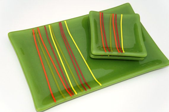 Plate Set - Fused Glass Green with Red, Orange and Yellow Accents. $38.00, via Etsy.