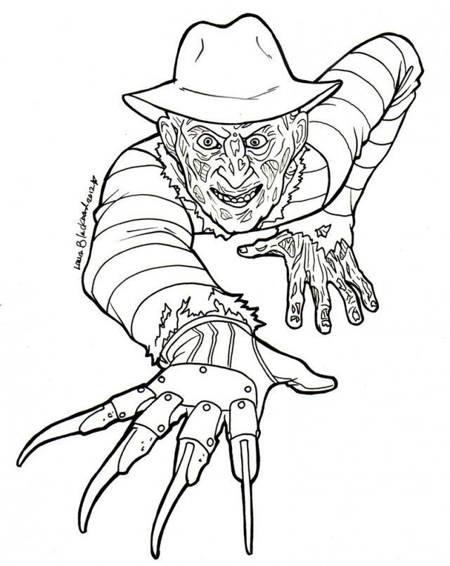 Freddy Krueger By Dani 136971 Ready To Be Colored Getsomecrayonskids Freddy Krueger Art Halloween Coloring Pages Halloween Coloring