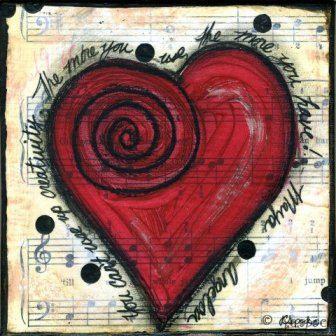 Mixed Media Art: Creative Heart - 5x5 print - Whimsical Art, Folk Art, Inspirational Art, Wall Art, Heart Art - red, black and white