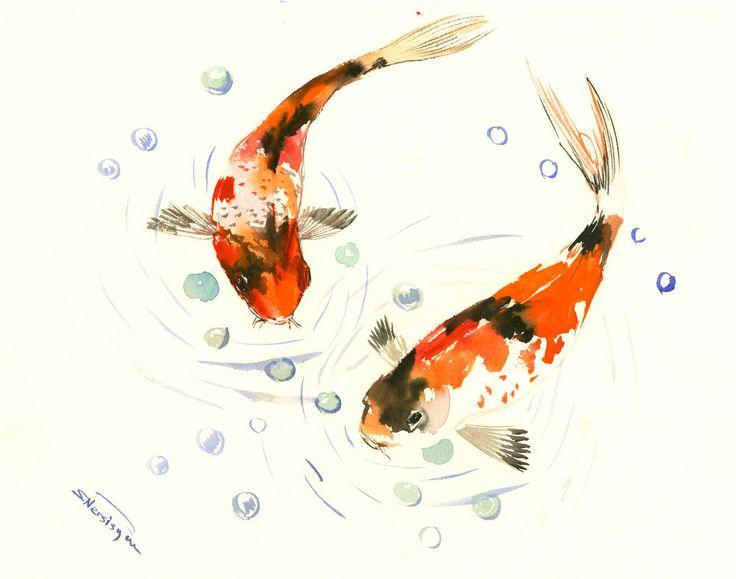 Two Goldfish, Two Koi, original orange  black yellow watercolor Asian style painting, Zen Brush painting, feng shui by ORIGINALONLY on Etsy
