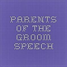Parents of the Groom Speech