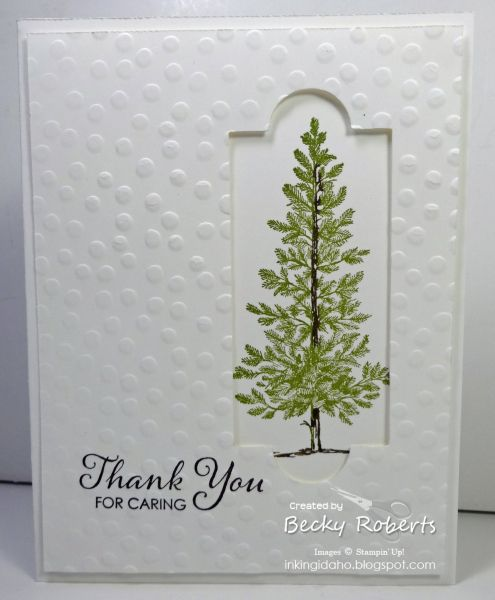 Thank You For Caring - Becky Roberts,   Thank you notes for my mom's funeral. Cardstock: Whisper White  Stamp Set: Lovely As A Tree, Lots of Thanks  Accessories: Apothecary Framelits, Decorative Dots Textured Embossing Folder (coming soon during Sale-a-bration), Big Shot