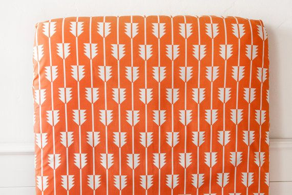 Crib Sheet in Orange Southwestern Arrow Tail // by woolfwithme