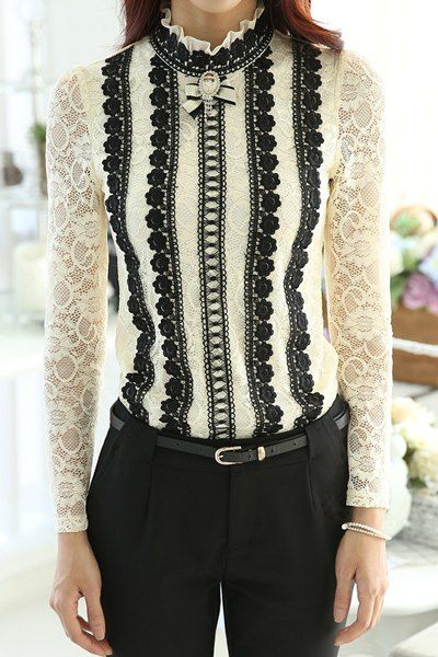 Black and White Steampunk Victorian Blouse- - Stylish Turtle Neck Long Sleeve Spliced Lace Women s Blouse $27.63 AT vintagedancer.com