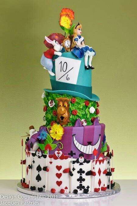 Alice in Wonderland cake Wow what a cake.. Our Alice in Wonderland would love to be at a Tea Party with this cake! www.PremierPrincessParties.com