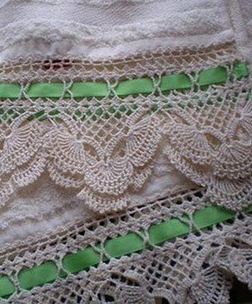 Вязание каймы крючком Gorgeous Lace Edging pattern!