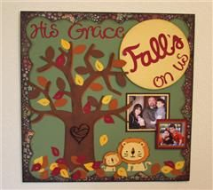 I created this page using the the Create a critter 2 cartridge combining a Fall theme and our children. Create a critter 2 was used for the tree and lions. The tree is approx 9 inches. With the lions, I cut two sizes and reversed the image to have them facing each other. I then inked the edges and bumped up the faces with 1/8 inch sticky bumps. I used Cricut Basics to cut a circle at approx 4 1/2 inches, then inked the edges of that with a darker yellow and also bumped it up. The leaves were…