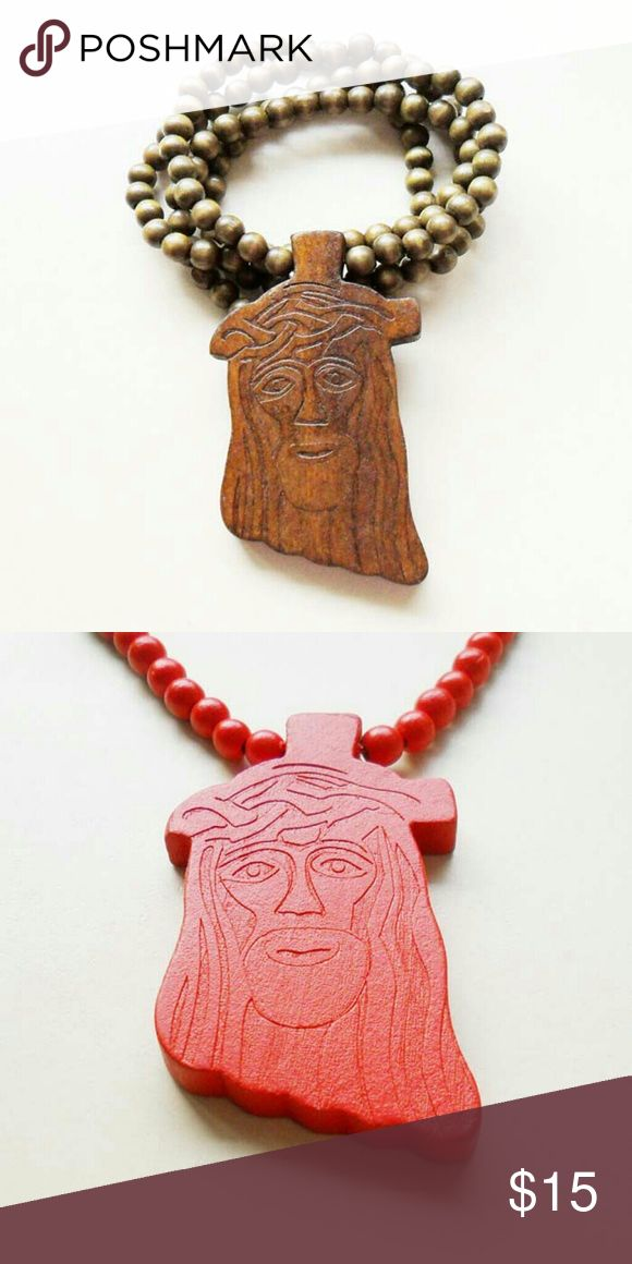 Jesus Wood Carved Necklace Brand new Jesus Wood Carved Necklace. 20 inches long. See boutique for more fashions!  #love #beauty #makeup #fashion #swim...