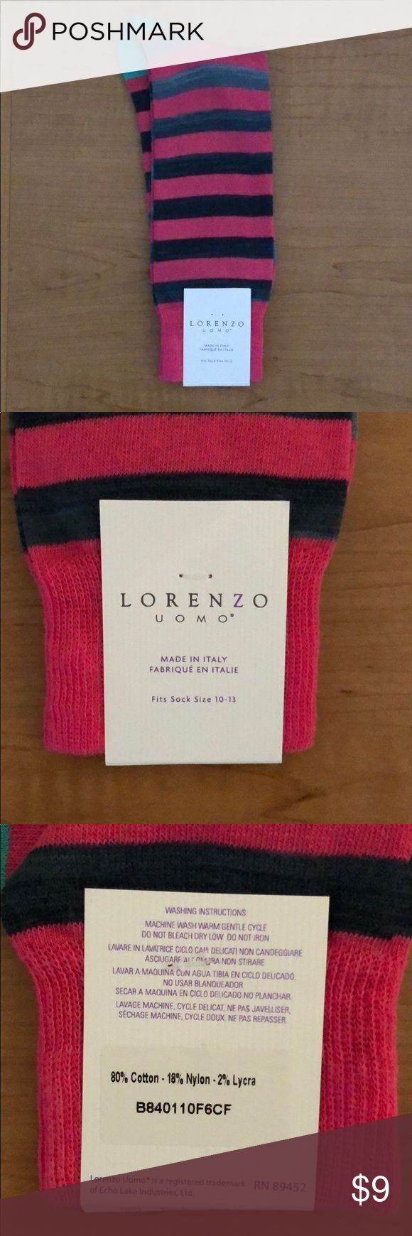 NWT Lorenzo Uomo Italian Men's Fashion Socks Cotton socks - Made in Italy Lorenzo Uomo Underwear & Socks Dress Socks