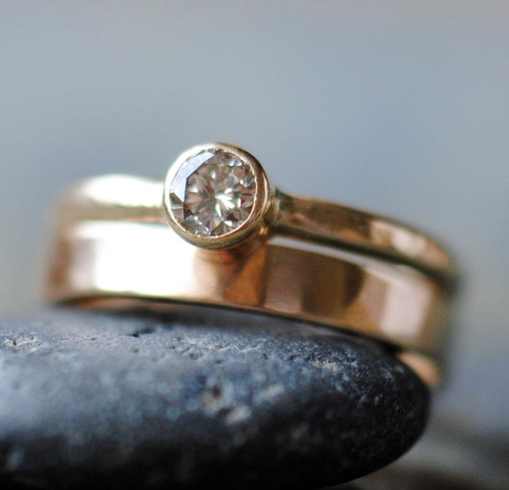 Champagne Diamond Wedding Ring Set in Eco Friendly Recycled 14k Gold.