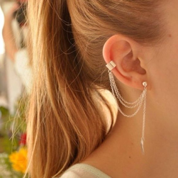 TRENDY Ear cuff/stud - silver Silver leaf ear stud & cuff Fashion Jewelry Jewelry