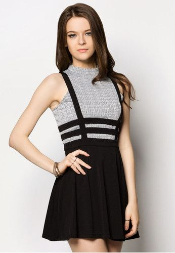 Two Piece Textured Dungaree Dress