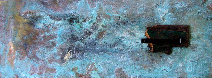 SenTi][165 - arte informale astratto dipinto astrattismo acidi pezzounico corrosione ossidazione metallo applicazioni artemoderna di Colibrit su Etsy