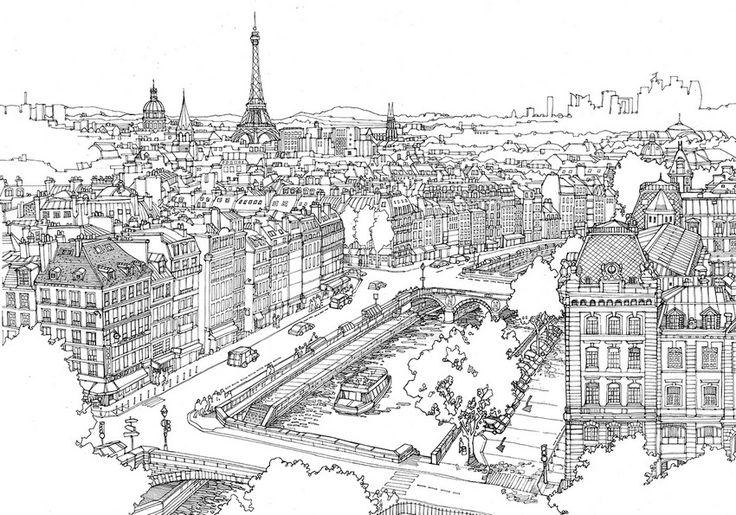 Coloriage Seine et Tour Eiffel