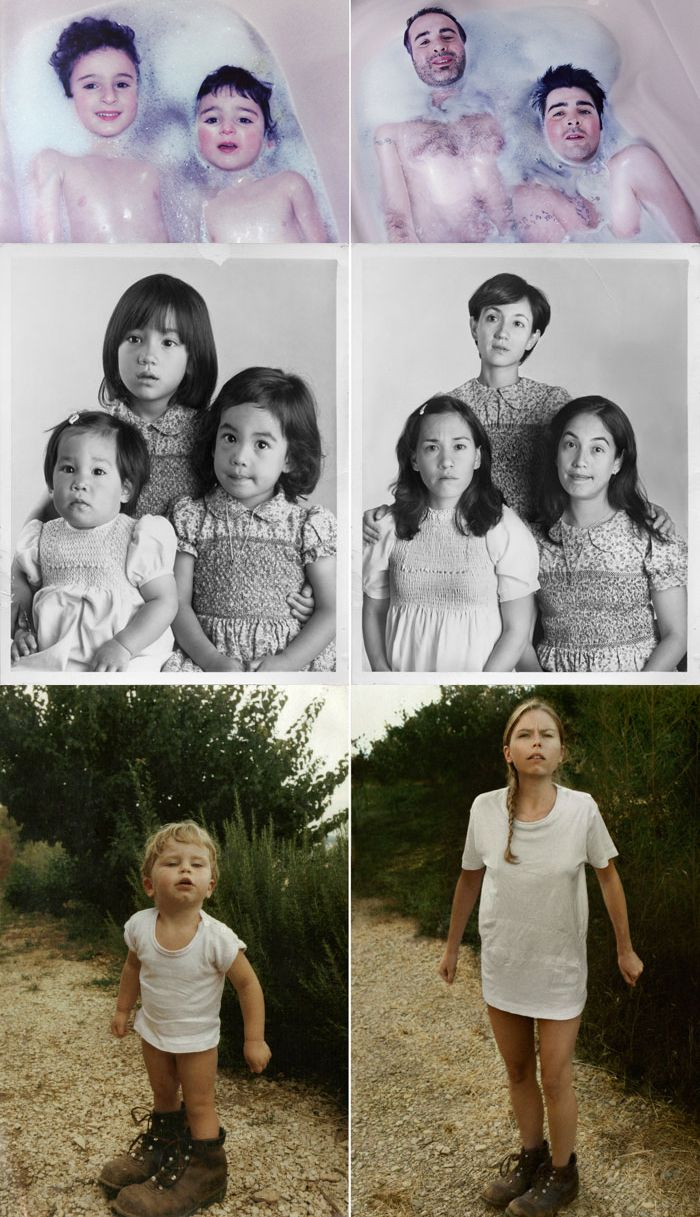 Klasse Idee - alte Kinderfotos Jahre später nachstellen - welcher Eltern würden sich nicht über solch ein Geschenk freuen?