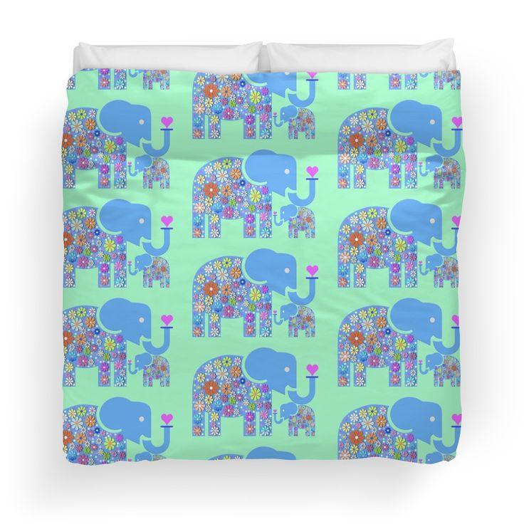 Mum & Baby Elephant #duvet #duvetcovers #kidsduvet #elephant #babyelephant #heart #bed #bedroom #google #fabric #design #popularduvetcovers #redbubble #macsnapshot