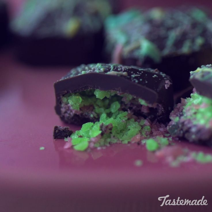 The yummy center of these chocolate candies totally rock.