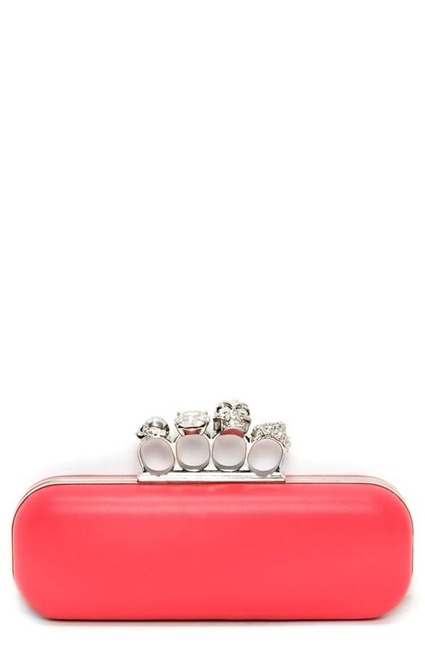 Alexander McQueen Knuckle Clasp Leather Clutch
