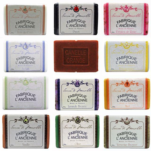 True #savondemarseille #madeinfrance by the last true #soap maker Le Serail. Fragrances include: #coconut #poppy #rosepetal #lilyofthevalley #cinnamon #orange #frangipani #milk #lavender #honey #vanilla #olive #verbena