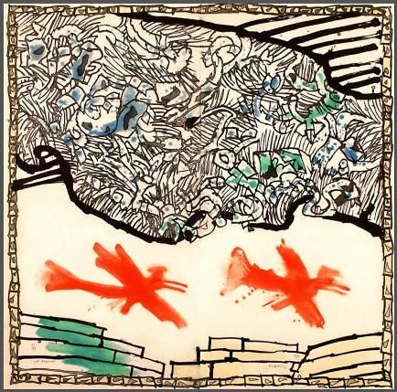 Galerie Lelong - Estampes - Pierre AlechinskyVol augural 1990 Gravure marouflée 184 x 187 cm