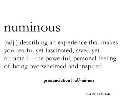 Numinous  (adj.) describing an experience that makes you fearful yet fascinated, awed yet attracted; The powerful, personal feeling of being overwhelmed and inspired.