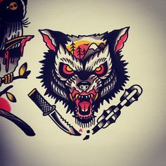 tattoo wolf traditional - Pesquisa Google
