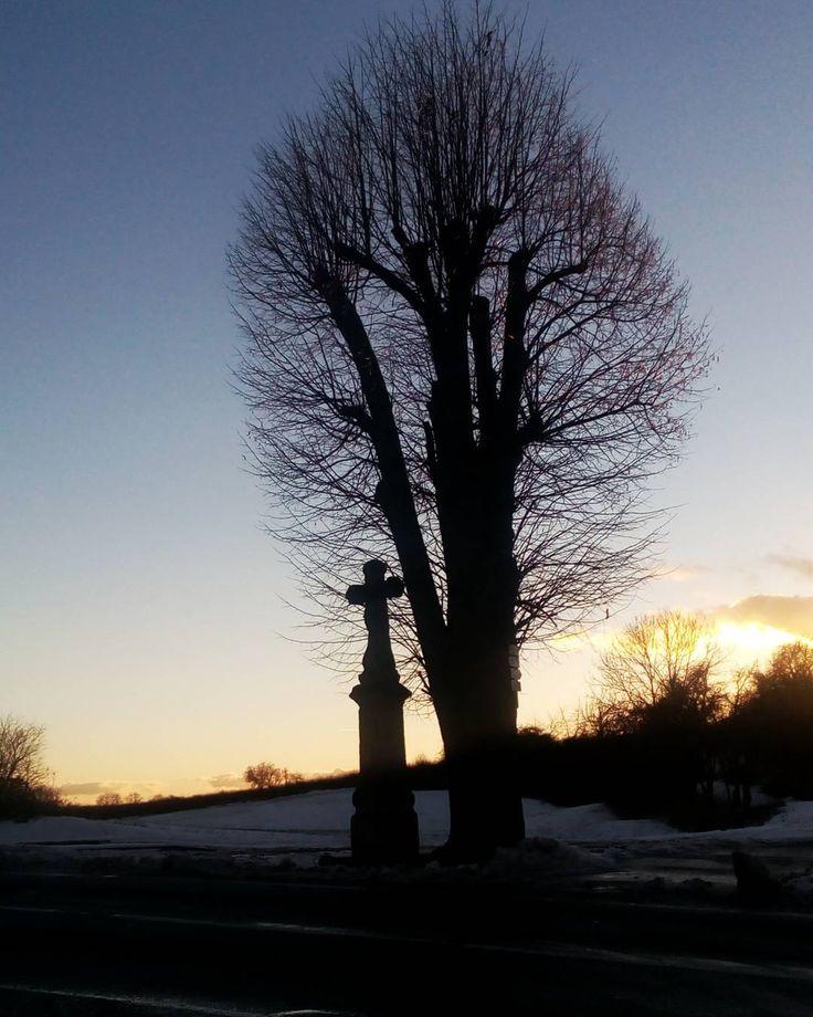 #libereckykraj #semilsko #cesky_raj #ceskyraj #kozakov #mobilephotography #winter #czech_world #czech #czechrepublic #igraczech #instadialy #insta_czech #igers #igerscz #cross #tree #sky #evening