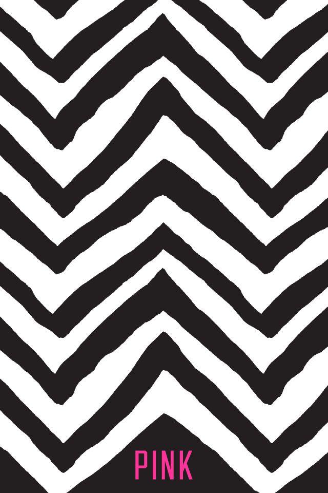 Black/White Zig Zag PINK Wallpaper