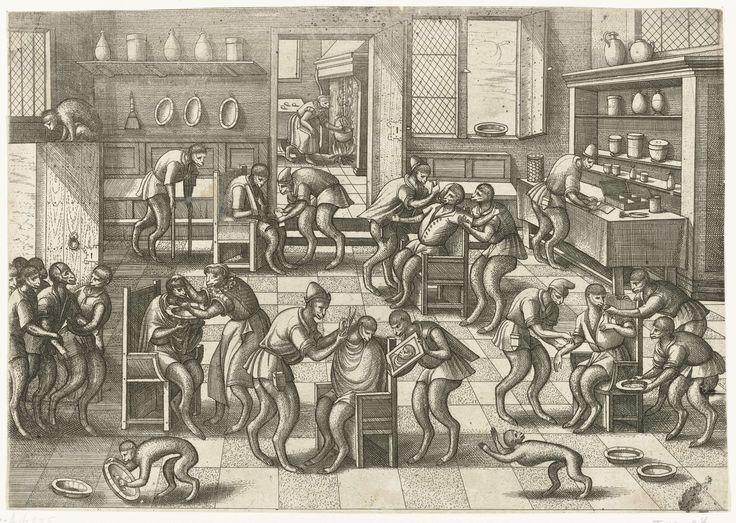 Barbiers- en chirurgijnswinkel, Pieter van der Borcht (I), onbekend, 1557 - 1608