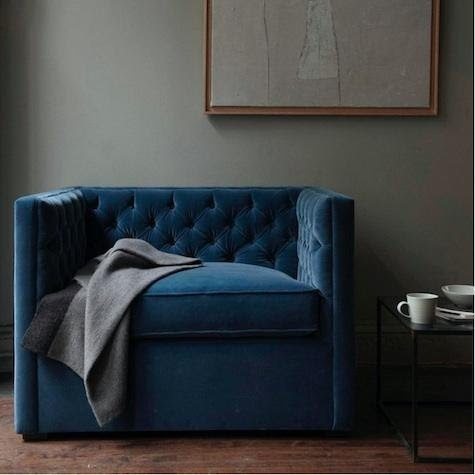 Love this chairVelvet Chairs, Wall Colors, Blue Velvet, Grey Wall, Living Room, Canvas, Reading Chairs, Club Chairs, Blue Chairs