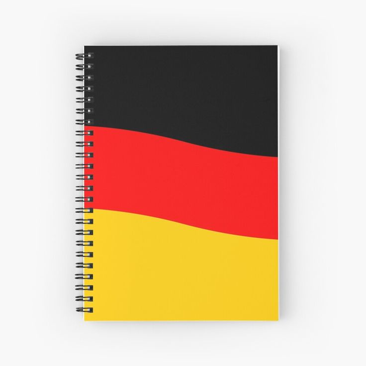 Black Red and Yellow German Flag Wave Spiral Notebook
