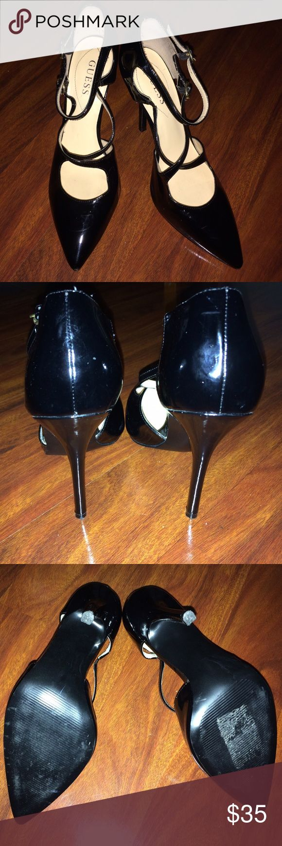 """Guess Patent Leather Pumps 🖤👠 A classic look made sexy! I love these GUESS heels. Worn only ONCE☝🏾! Only noticeable scuff mark I did post a picture. Both straps are functional. 5"""" heel👠! They've been stored in a plastic shoe box since I wore them that one time. 🚫Trades or Low-Ball Offers. If you have any questions feel free to leave me a comment. Happy Poshing 😊💕💕💕 Guess Shoes"""