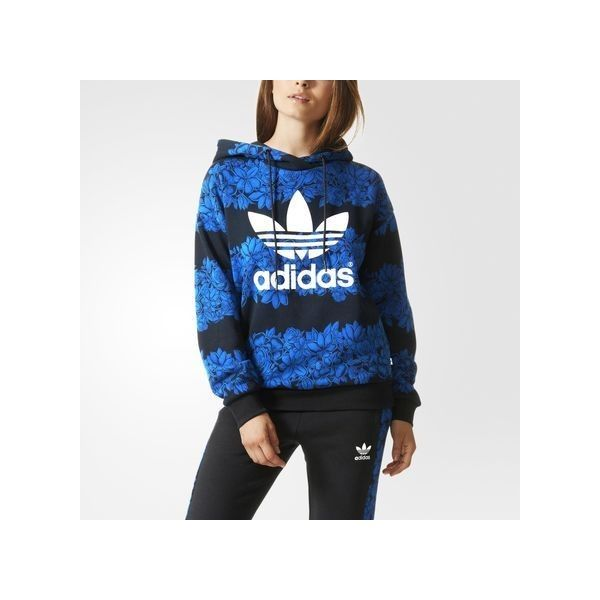 adidas Blue Floral Hoodie (£34) ❤ liked on Polyvore featuring tops, hoodies, red, red hooded sweatshirt, blue hoodie, graphic hoodies, adidas hoodie ve blue hoodies