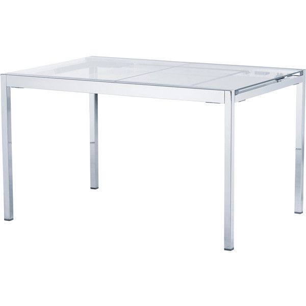 IKEA GLIVARP Extendable table, clear, chrome plated found on Polyvore featuring polyvore, home, furniture, tables, dining tables, dining table, extendable table, top table, butterfly leaf table and leaf table