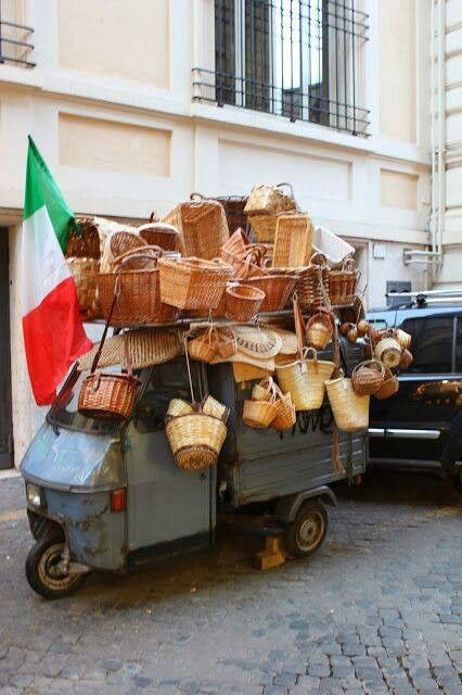 Street Seller of many baskets; you see this only in Italy; it's so special, so…