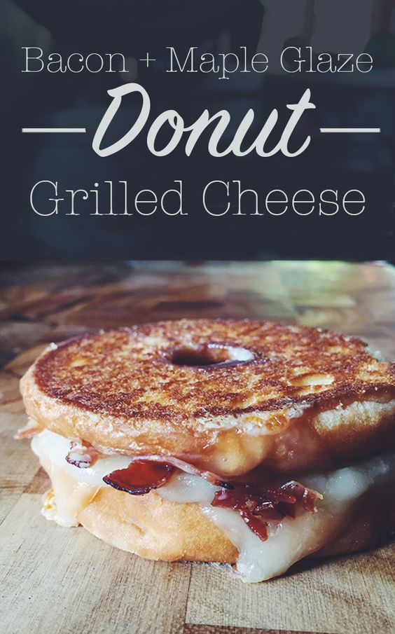 National Grilled Cheese Month is almost to an end and this is the best way to celebrate! Donut Grilled Cheese with Bacon + Maple Glaze