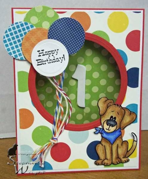 TENT CARD, Happy 1st Birthday by sasha728 - Splitcoaststampers