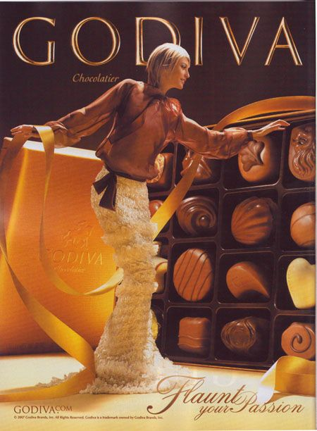 Godiva Chocolatier | Glamour Campaign | Flaunt Your Passion | SNOB APPEAL suggests that the use of the product makes the customer part of an elite group with a luxurious and glamorous life style